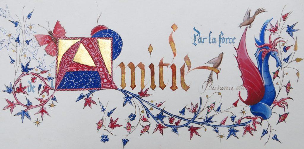 Calligraphie Amitié décor médiéval