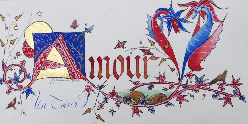 Calligraphie Amour décor médiéval