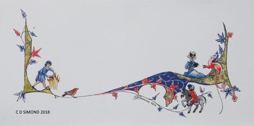 Frise à calligraphier décor médiéval