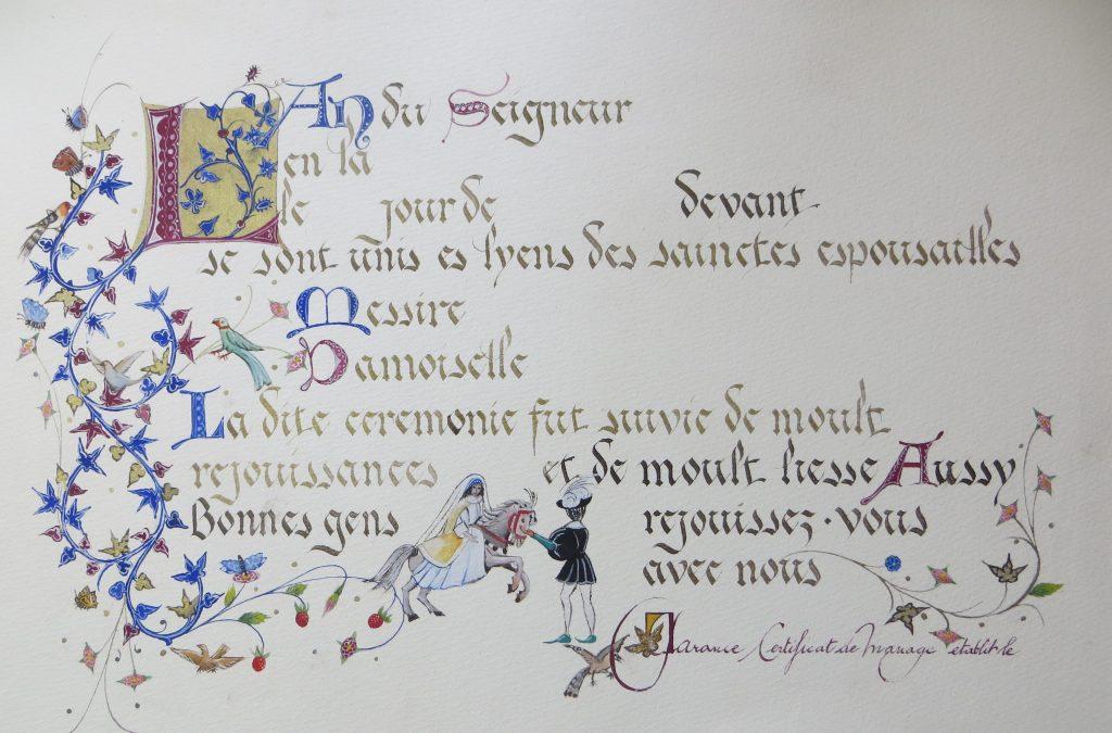 Certificat de mariage médiéval