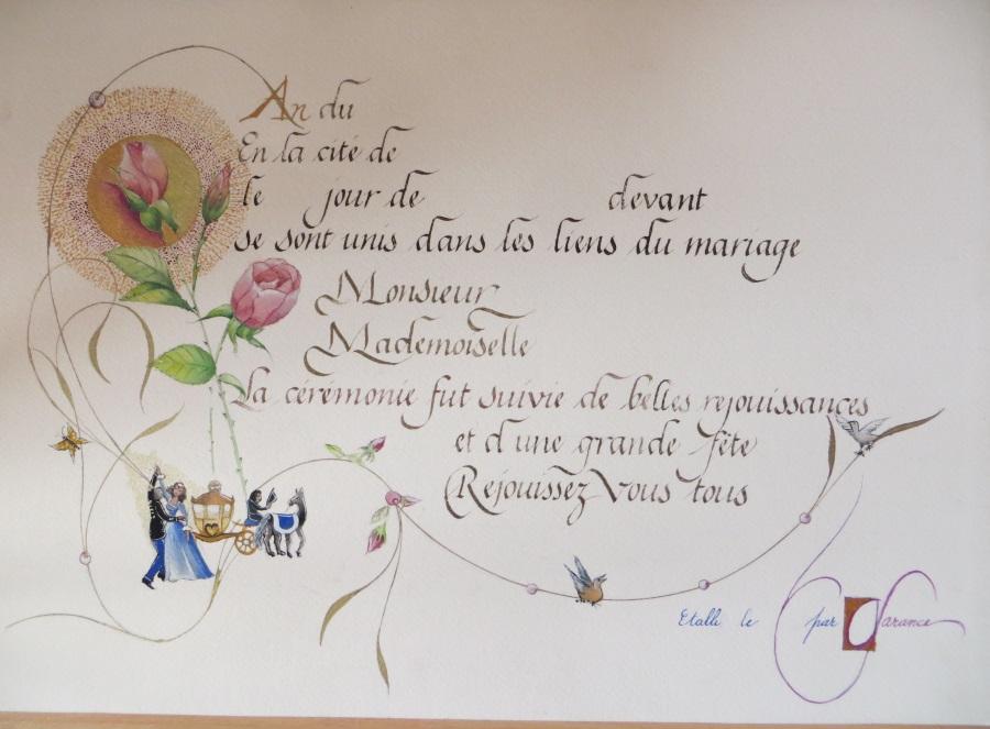 Certificat de mariage romantique